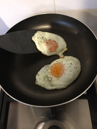 Fried eggs for breakfast coming off easily.